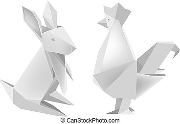 Origami_rabbit_and_rooster - Illustration of folded paper...