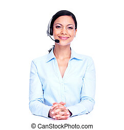 Call center operator business woman. Isolated on white...