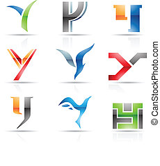 Glossy Icons for letter Y - Vector illustration of abstract...