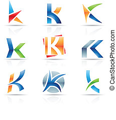 Glossy Icons for letter K - Vector illustration of abstract...