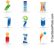 Glossy Icons for letter I - Vector illustration of abstract...