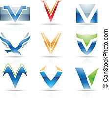 Glossy Icons for letter V