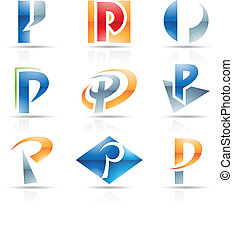 Glossy Icons for letter P - Vector illustration of abstract...