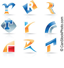 Glossy Icons for letter R - Vector illustration of abstract...