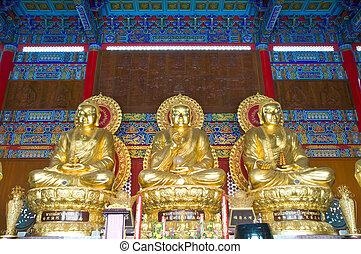 tres, dorado, Buddha