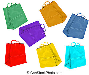 colored paper bags - different colored paper bags on white...