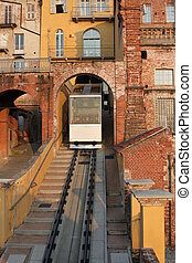Funicular in the town center, Piedmont, Italy