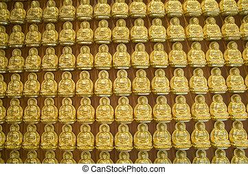oro, chino, pared,  Buddha, templo