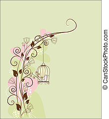 bird  - floral decorations with a bird in a cage