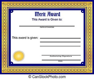Merit Award - Illustration of a merit award, on a white...