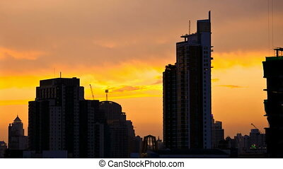 Time Lapse - Bangkok city at Sunset - Sunset on Bangkok with...