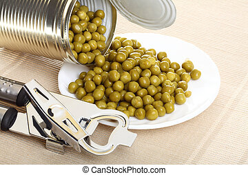 can with canned, tinned peas,