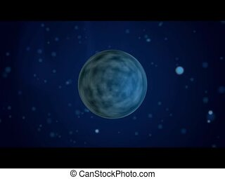Lonley planet on space background with flying stars