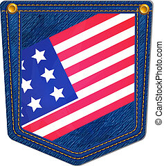 USA Flag Blue Jean Pocket