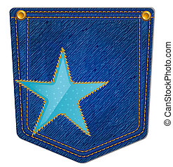 Blue Jean Pocket - Jean Pocket decorated with a star and...