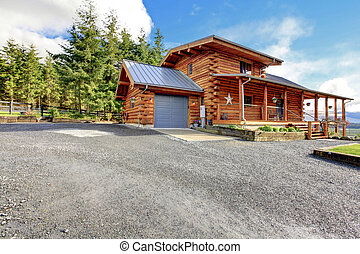 Large classic American log cabin home.
