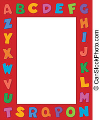 Alphabet Frame - Multicolor alphabet on vertical red frame...