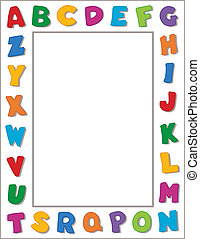 Alphabet Frame - Multicolor alphabet on horizontal white...