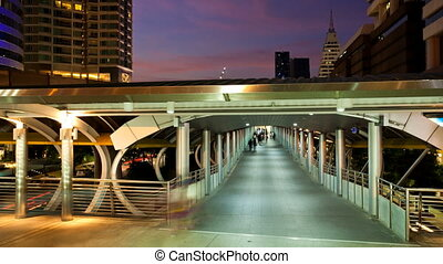 Timelapse - Pedestrians in Skytrain - Chong Nonsi Aerial...
