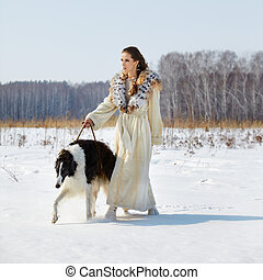 woman with borzoi outdoors - outdoor portrait of beautiful...
