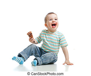 男の子, わずかしか, 隔離された, 氷, チョコレート, スタジオ, 子供, 幸せ, クリーム
