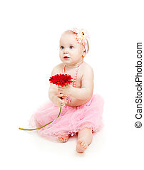 cute little girl with flower isolated on white