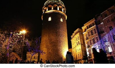 Galata Towers Time Lapse 2 - Time Lapse Galata Towers at the...