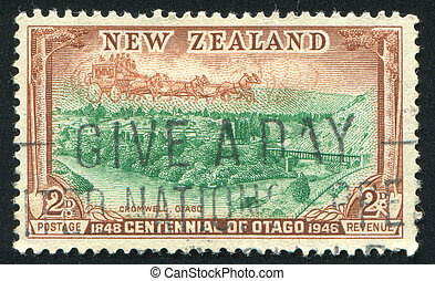 Cromwell - NEW ZEALAND - CIRCA 1948: stamp printed by New...