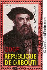 Ferdinand Magellan - DJIBOUTI - CIRCA 2010: stamp printed by...