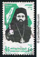 Archbishop Capucci - EGYPT - CIRCA 1977: stamp printed by...