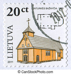 churc - LITHUANIA - CIRCA 2011: stamp printed by Lithuania,...