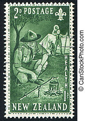 Boy Scouts at Camp - NEW ZEALAND - CIRCA 1953: stamp printed...