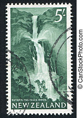 Sutherland Falls - NEW ZEALAND - CIRCA 1960: stamp printed...