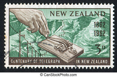 Morse Key and Port Hills - NEW ZEALAND - CIRCA 1962: stamp...