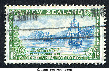 New Zealand ship - NEW ZEALAND - CIRCA 1948: stamp printed...