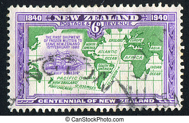 world map - NEW ZEALAND - CIRCA 1940: stamp printed by New...