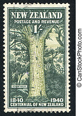 Giant Kauri - NEW ZEALAND - CIRCA 1940: stamp printed by New...