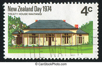 Treaty House - NEW ZEALAND - CIRCA 1974: stamp printed by...
