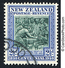 Treaty of Waitangi - NEW ZEALAND - CIRCA 1940: stamp printed...