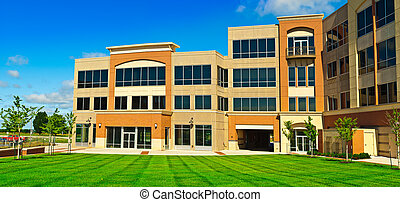 Office center - Bussines center isolated in a lawn