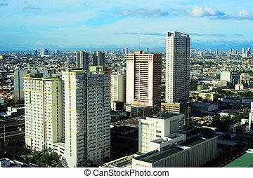 Makati - Aerial view on Makati - modern financial and...