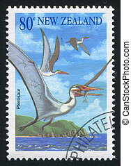pterosaur - NEW ZEALAND - CIRCA 1993: stamp printed by New...