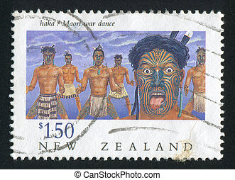 Maori war dance - NEW ZEALAND - CIRCA 1990: stamp printed by...