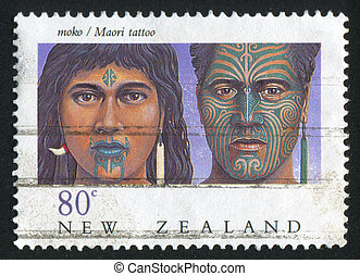 Maori tattoo - NEW ZEALAND - CIRCA 1990: stamp printed by...