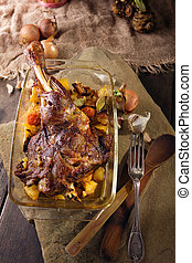 Roasted leg of lamb with roast potatoes