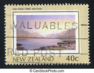 Lake Pukaki - NEW ZEALAND - CIRCA 1988: stamp printed by New...