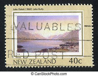 Lake Pukaki - NEW ZEALAND - CIRCA 1988: stamp printed by New...