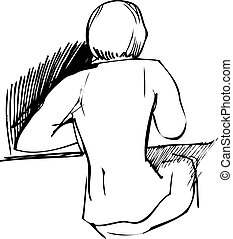 girl sitting at a table with his back to us - a girl sitting...