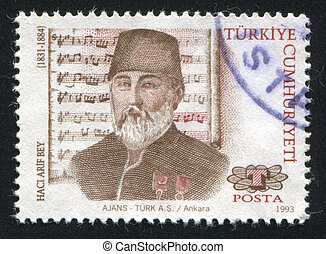 Haci Arif Bey - TURKEY- CIRCA 1993: stamp printed by Turkey,...
