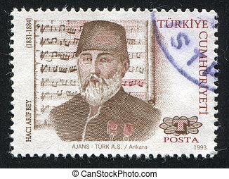 Haci Arif Bey - TURKEY- CIRCA 1993: stamp printed by Turkey,...